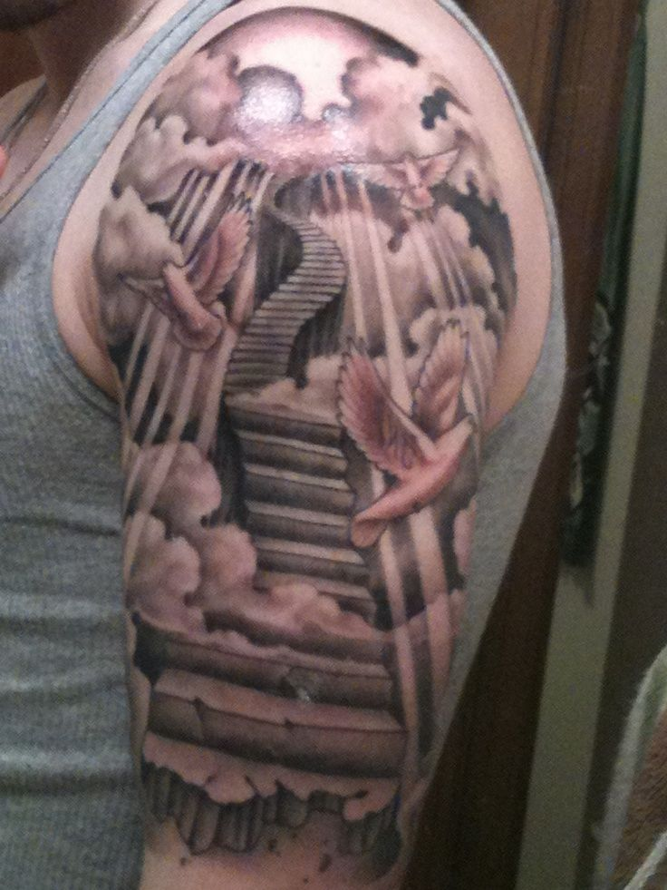 Sleeve tattoo stairs google search tattoos pinterest for Stairway to heaven tattoo chest