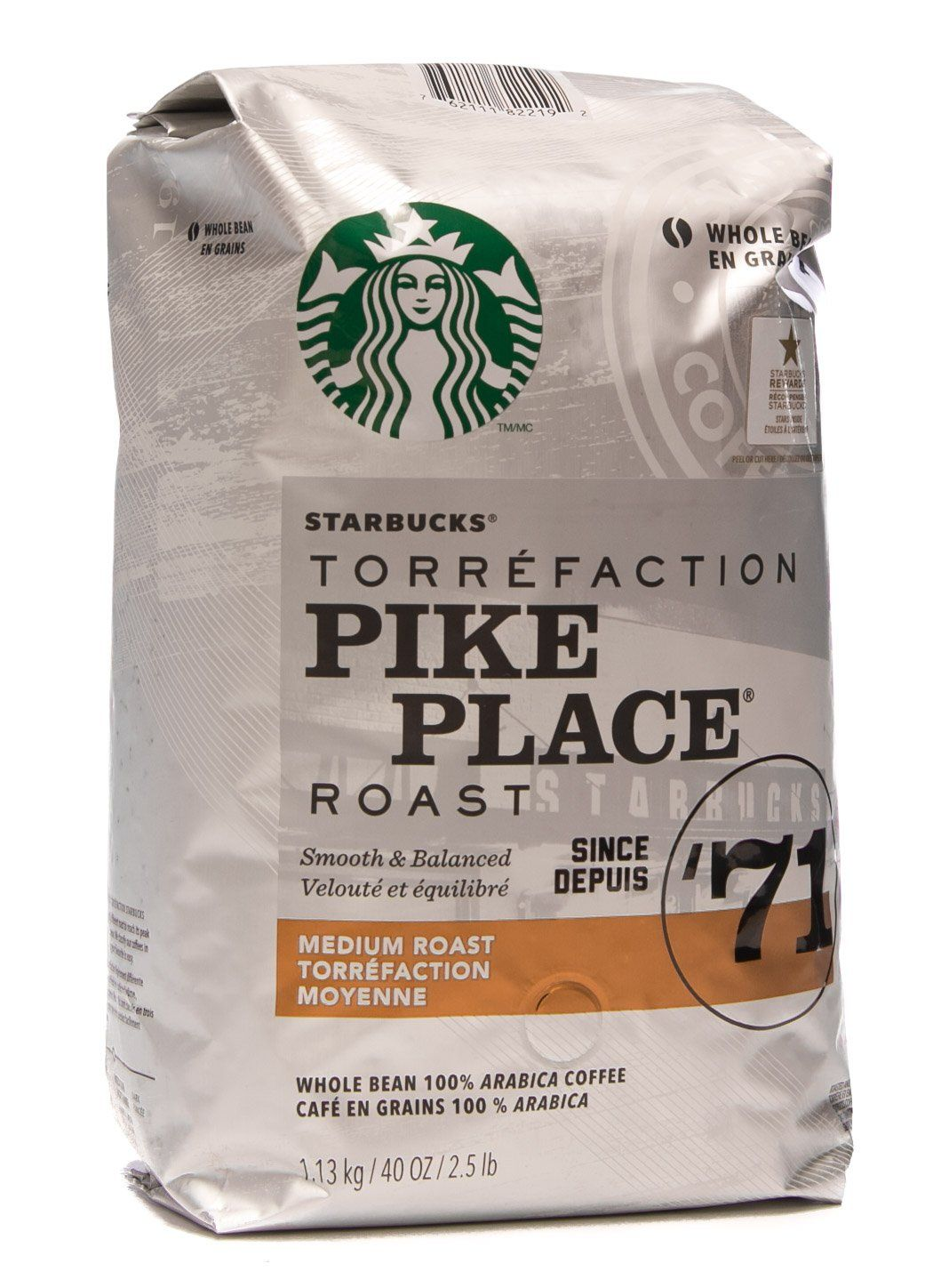 Starbucks Pike Place Medium Roast Whole Bean Coffee 40 oz