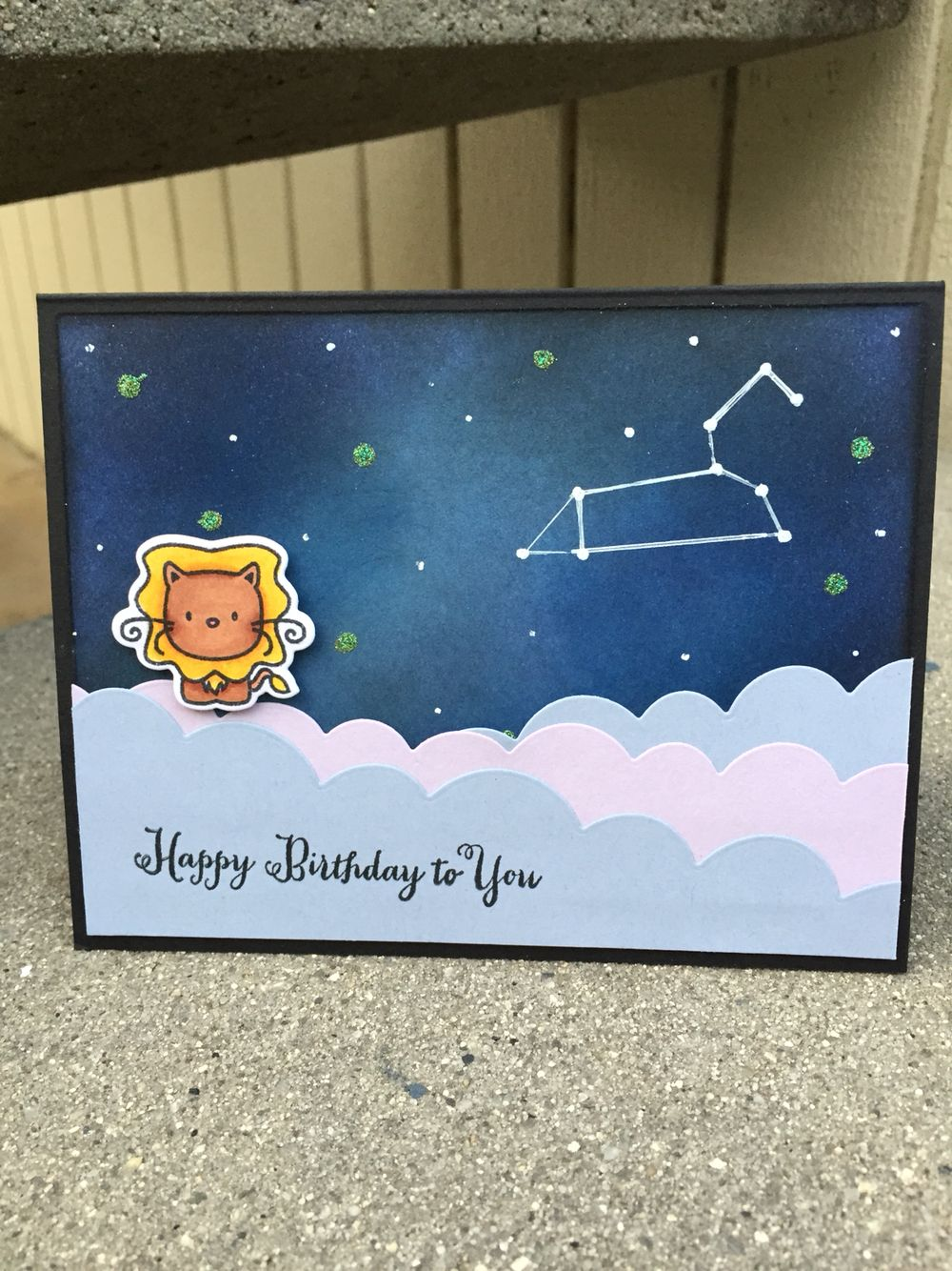Zodiac Leo Birthday Card using Mama Elephant Cosmic Stars stamp – Birthday Card Sets