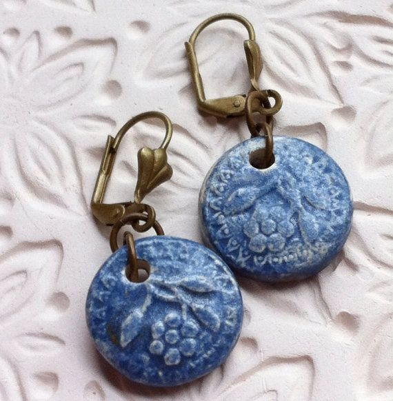 Ceramic+Floral+Dangle+Earrings+by+WinchellClayWorks+on+Etsy