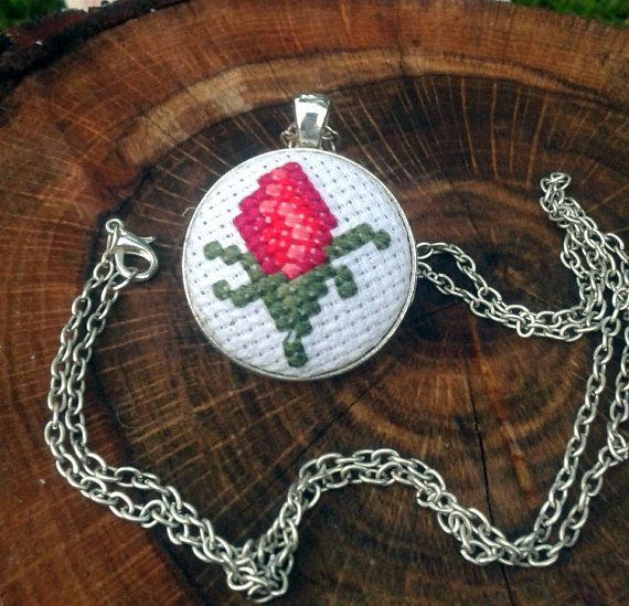 Modern jewelry Summer necklace Red rose necklace Rose