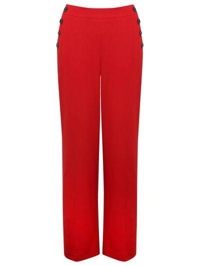 M&Co. Women Wide leg button trim trousers