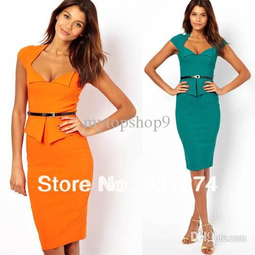 3bc816feec93 Wholesale Casual Dresses - Buy Women Shift Pencil Wiggle Formal Work  Business Peplum Square Neck Office Party Bodycon Knee Length Dress, $22.59  | DHgate