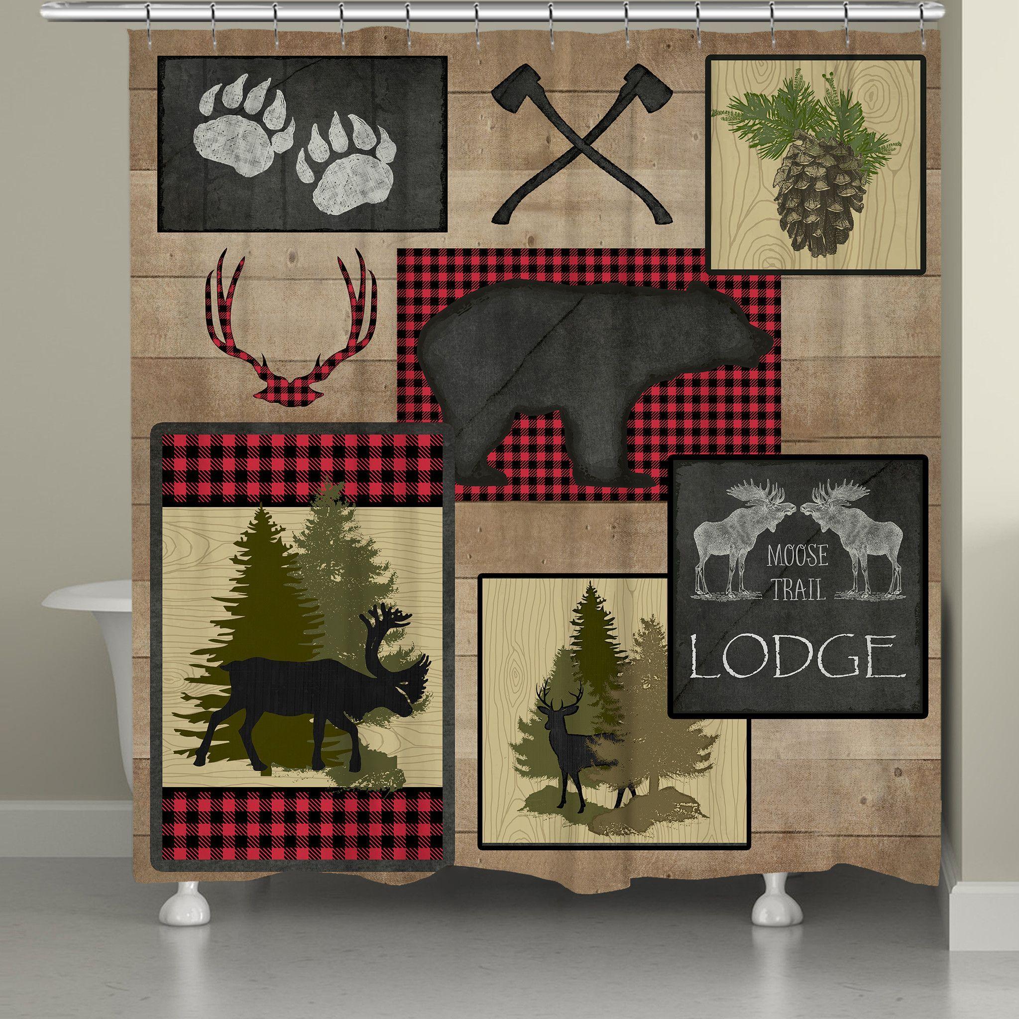 Lumberjack Plaid Lodge Patch Shower Curtain