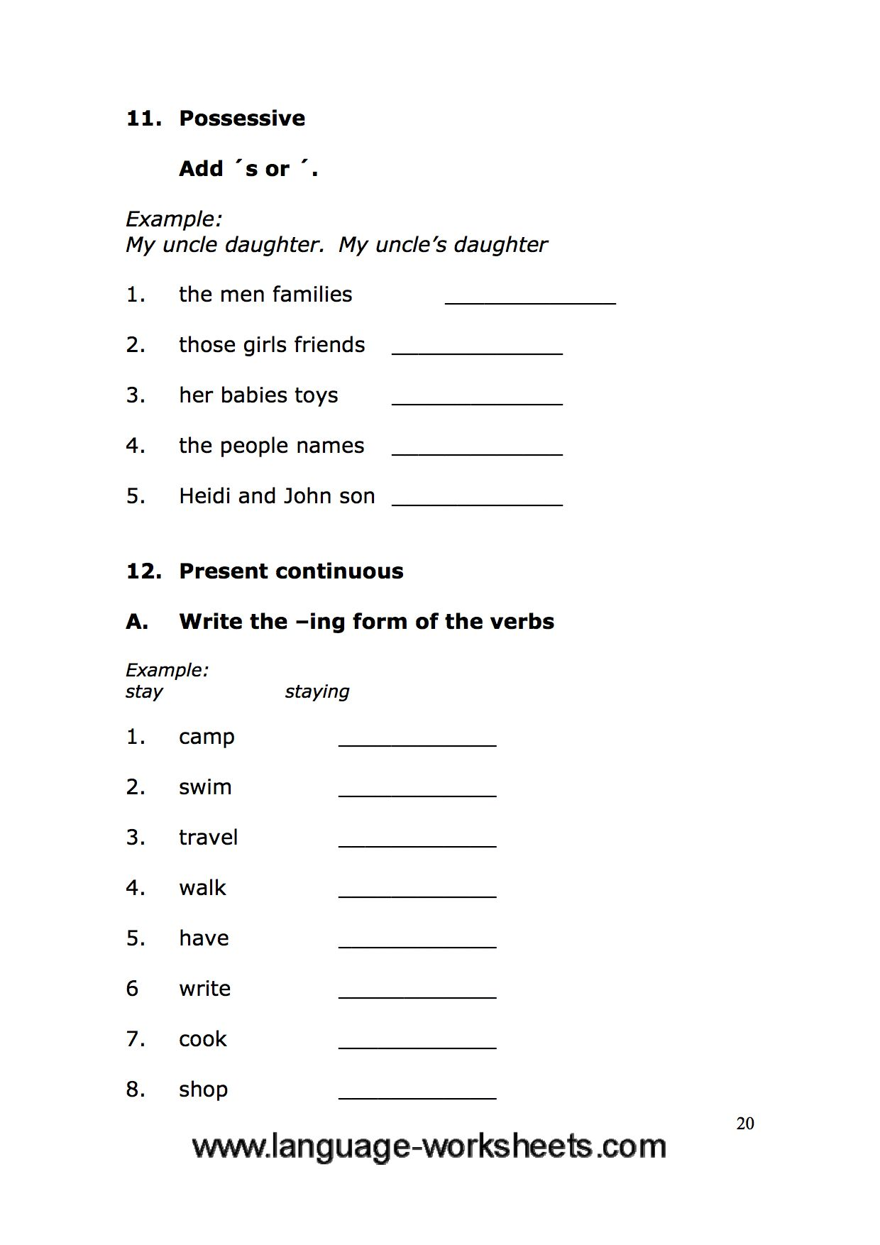 Grammar Worksheets 20