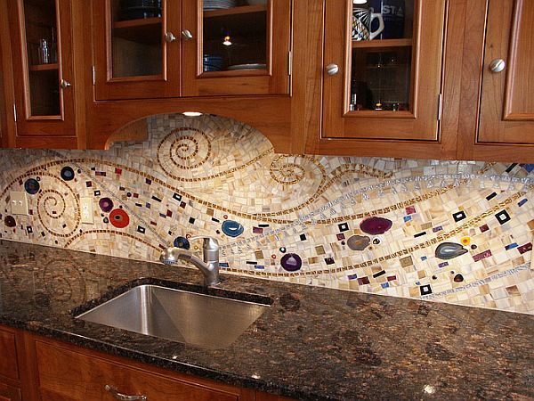 10 Wonderful Mosaic Kitchen Backsplashes. Love the muted tones with  splashes of interesting color -- not overwhelming.