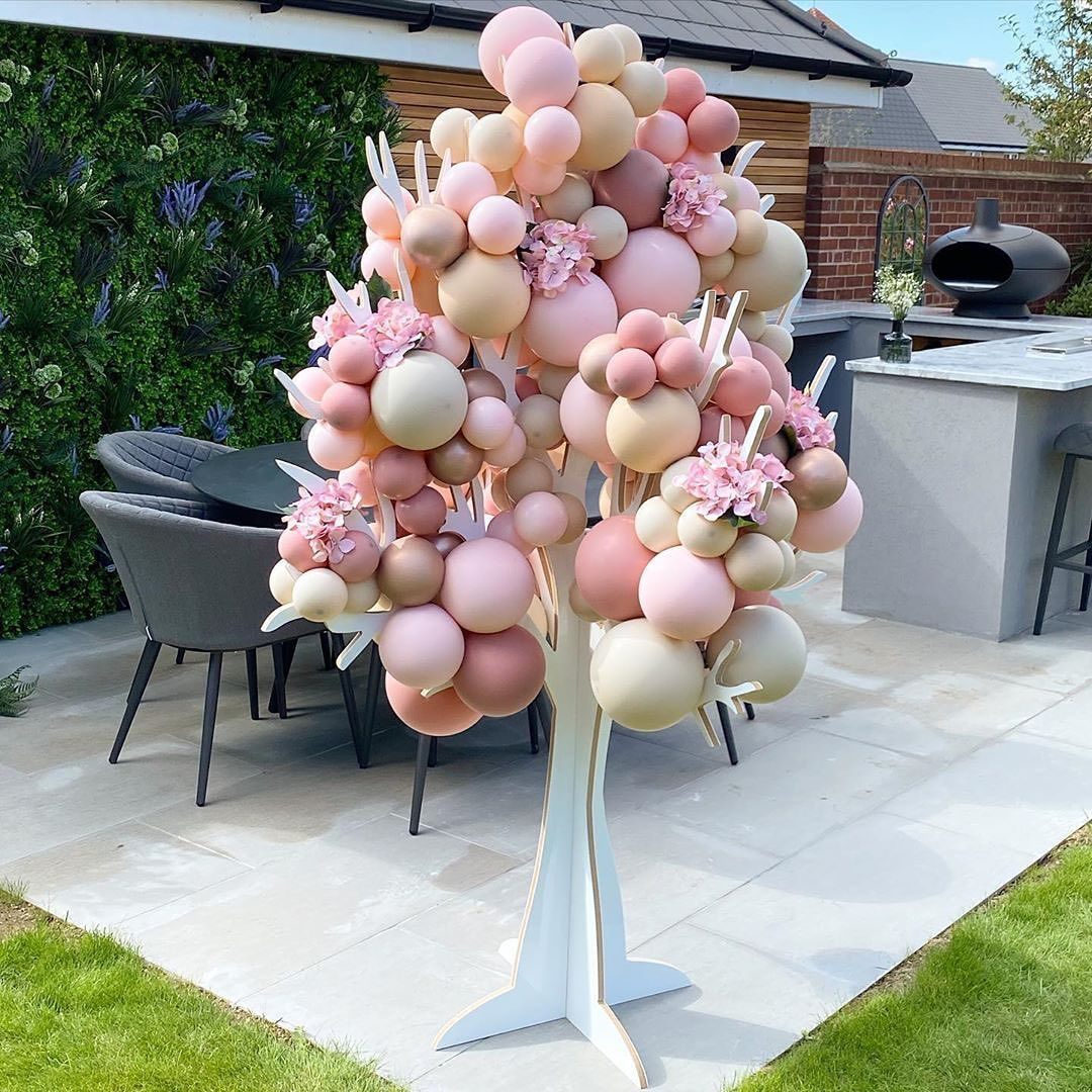 "@balloons_worldwide on Instagram: ""Our gorgeous new balloon tree! Perfect for Ophelia's Christening set up 💖 @nataliejsmith_ @terrydsmith_  . . . @balloonhive  #bespoke…"""