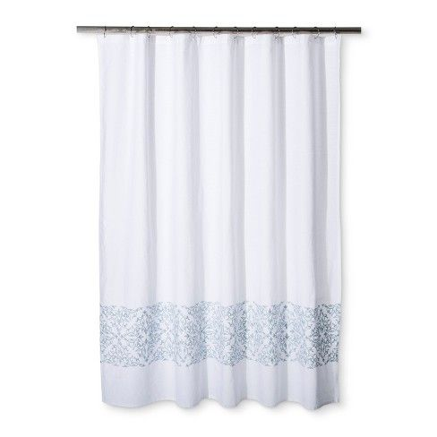 Woven Embroidery Shower Curtain Silver Blue Fieldcrest Blue