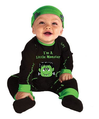 Look what I found on #zulily! Black & Green 'Little Monster' Playsuit & Beanie - Infant #zulilyfinds
