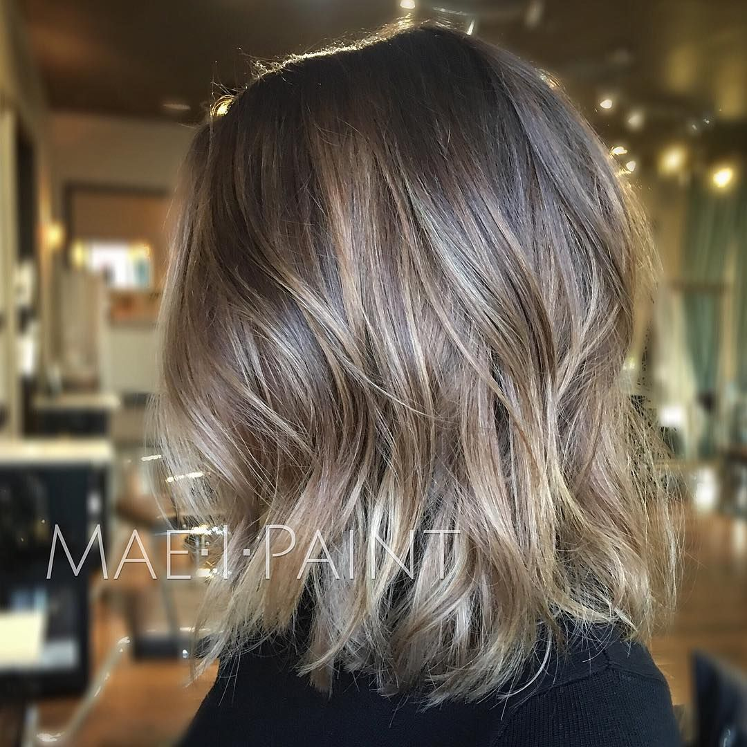 """""""Ashy blonde lob. Working our way to silver and having fun ..."""