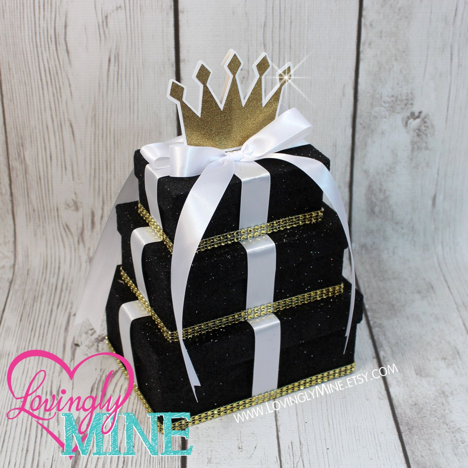 Small Centerpiece   Small Rectangular 3 Tier Black Prince Centerpiece In  Fine Black Glitter, White And Gold   Birthday, Baby Shower Etc By  LovinglyMine On ...