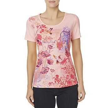 ae0417c413e Basic Editions Women s Embellished T-Shirt - Hummingbirds