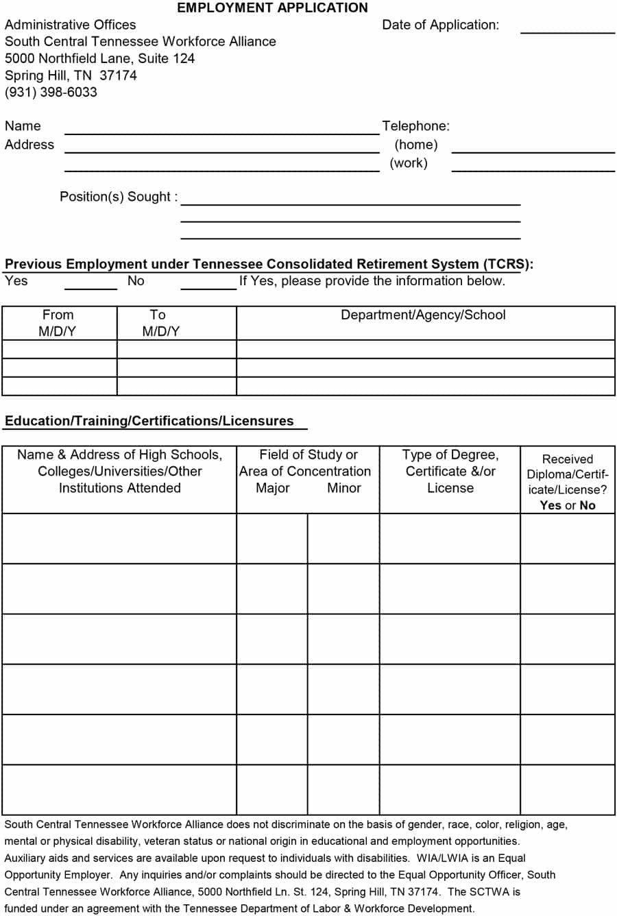 28 Employment Application form Template in 2020 Job