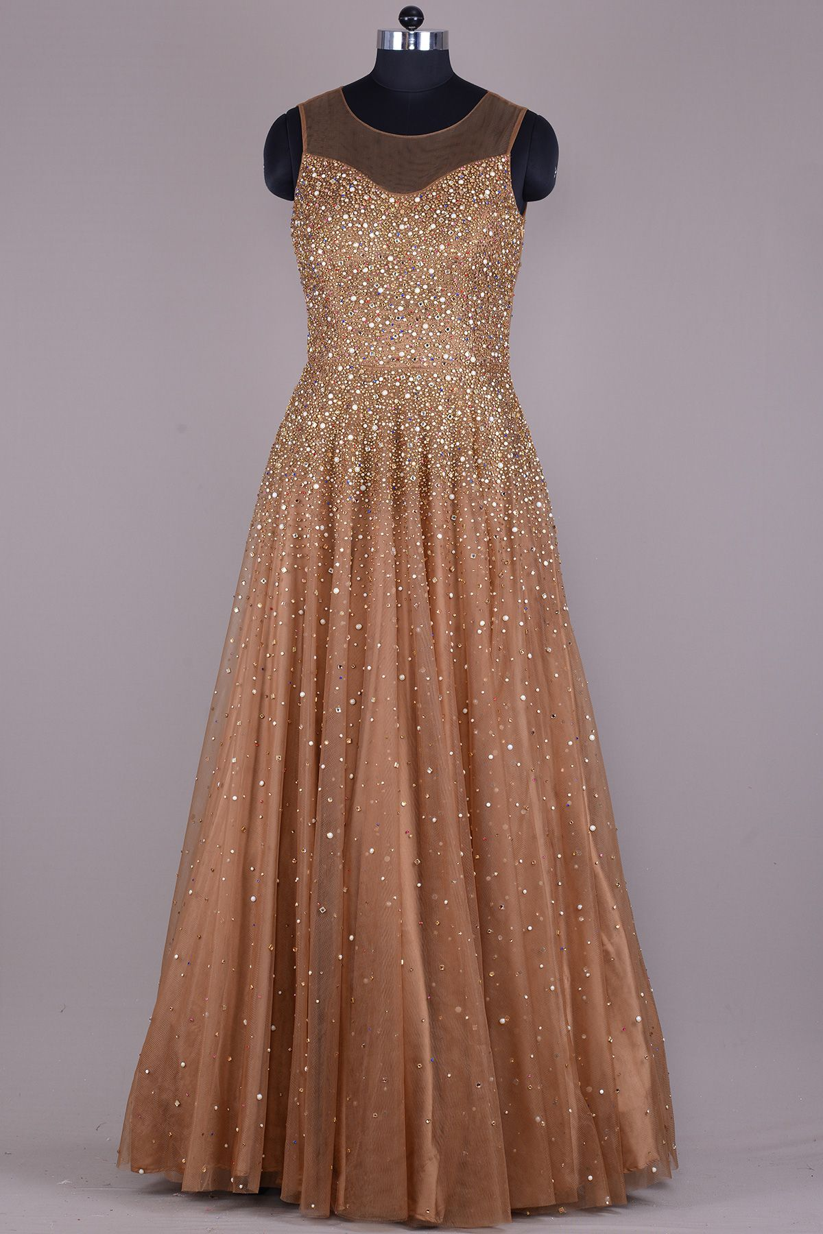 Buy Caramel Brown Stone Embroidered Net Evening Gown Online | Gowns ...