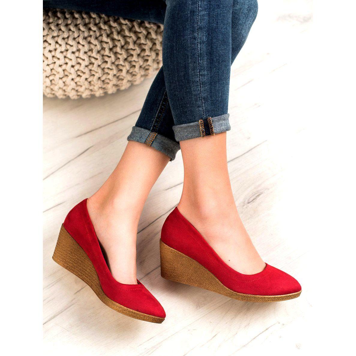Goodin Klasyczne Baleriny Na Koturnie Czerwone Shoes Mule Shoe Fashion