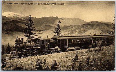 Colorado-Postcard-Passenger-Train-Pikes-Peak-from-Cripple-Creek-District-1915