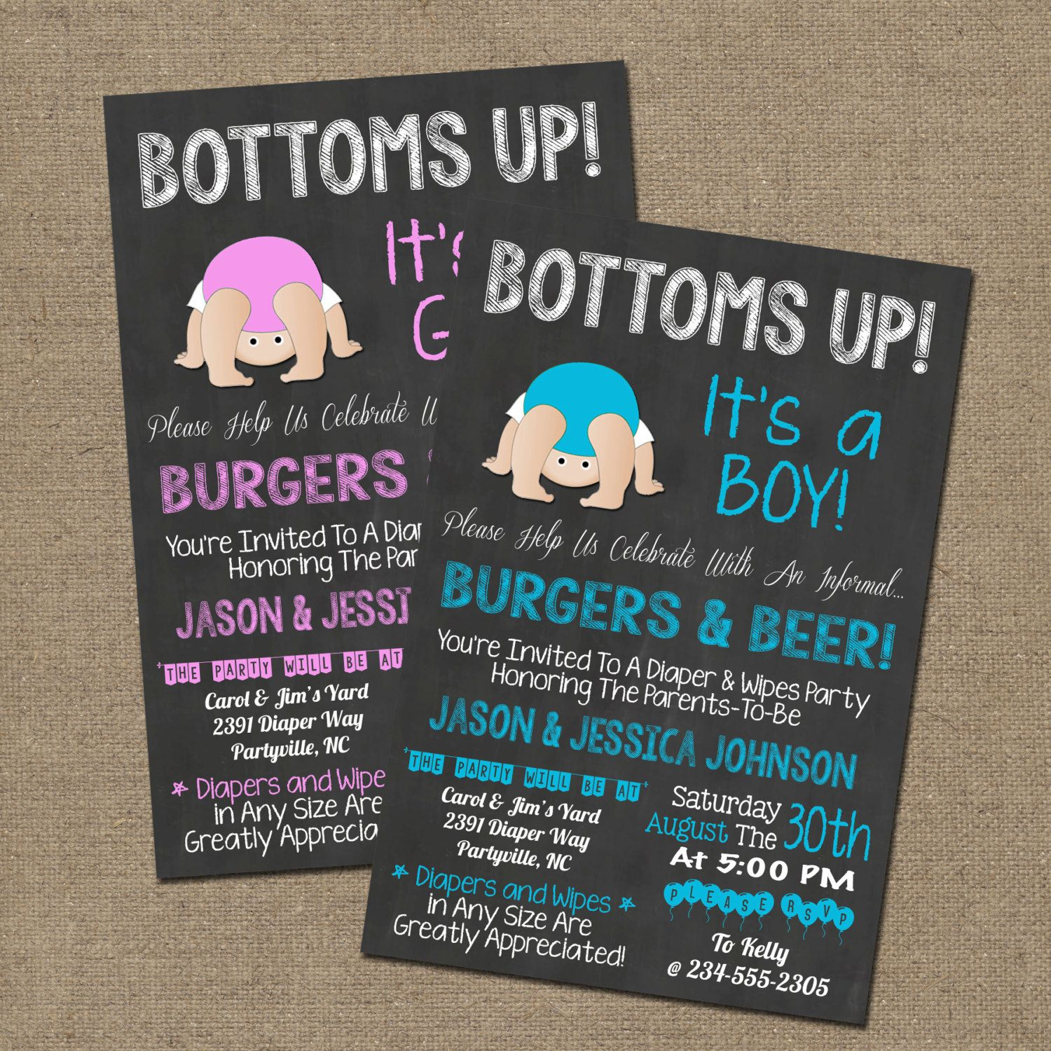 Bottoms Up Baby Shower Diaper Party Bbq By Worldofthought On
