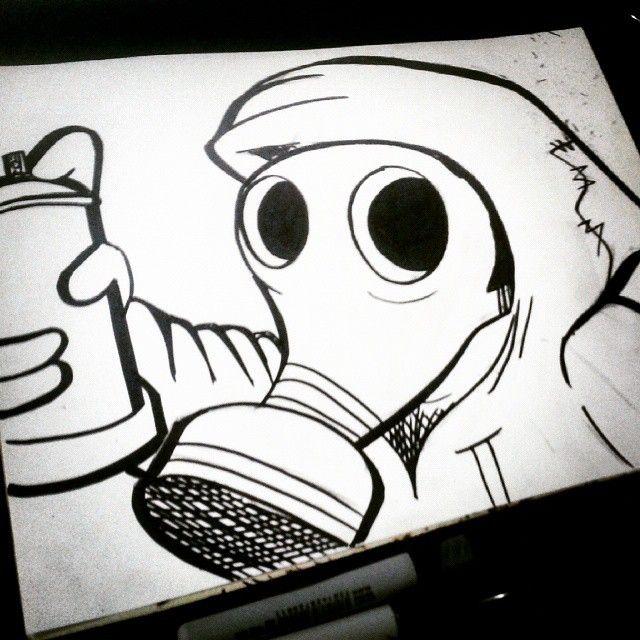 gasmask drawing draw dibujo dibujos desenho dessin dessins zeichnung disegno streetart arteurbano graffiti graff graffitis grafite sharpie - Dessin Graffiti