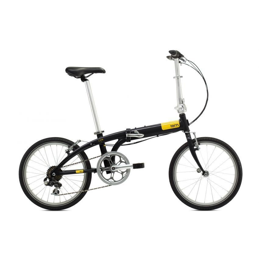 Tern Link C7 Folding Bike Black Yellow With Rack And Fender