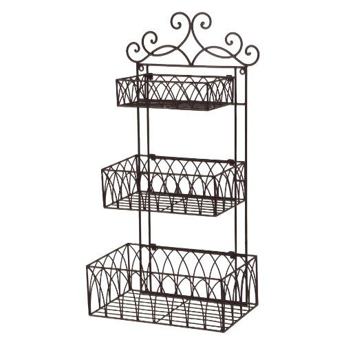 Decorative Metal Wall Shelves tuscan wrought iron metal 3 tier wall shelf or wall planter cheap
