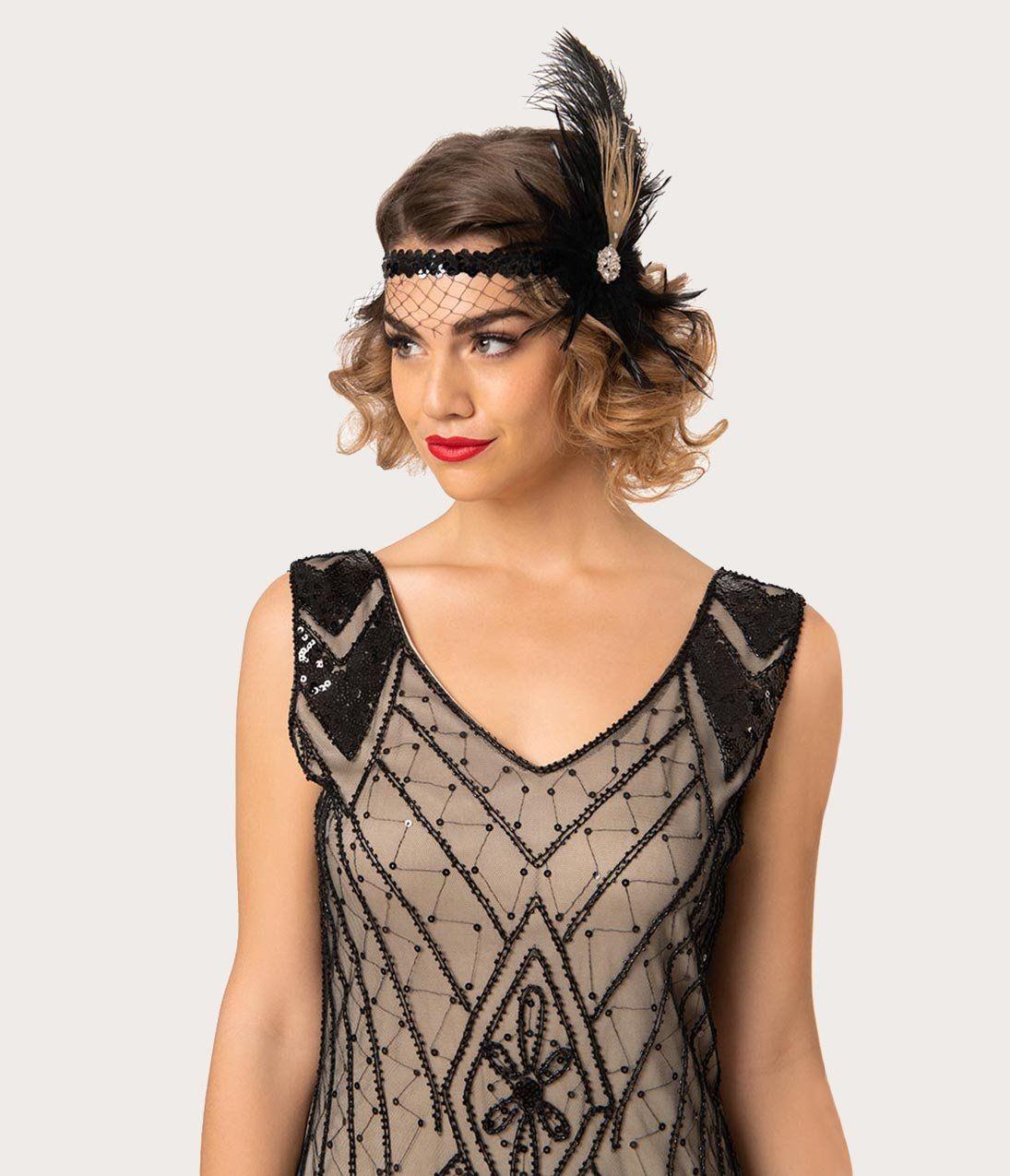 Plus Size 1920s Deco Silver & Black Veronique Fringe Flapper Dress #1920shairstyles