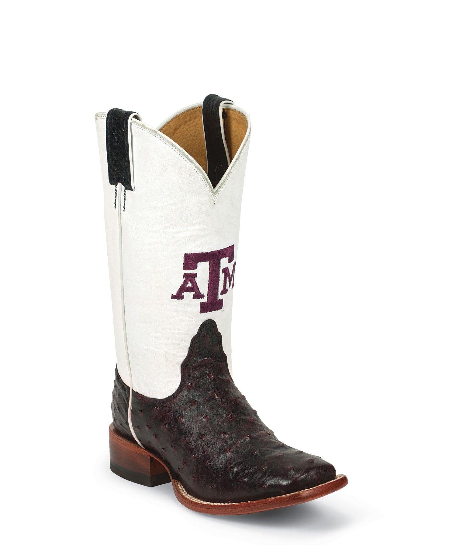 36de0e31542 Nocona Men's Collegiate Texas A&M - Black Cherry Full Quill Ostrich ...