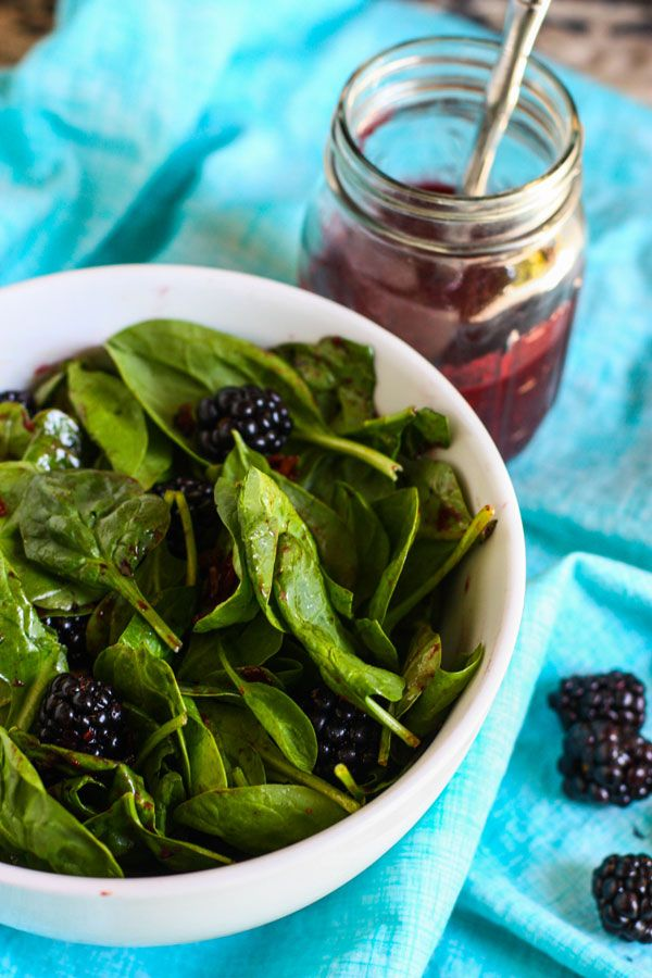 Spinach Salad with Candied Bacon and Fresh Blackberry Vinaigrette by Jenna Weber, pbs.org #Spinach #Salad #Bacon #Blackberries