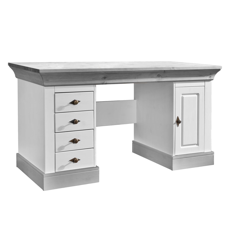 Schreibtisch Bergen - Kiefer massiv - Weiß / Grau, Maison Belfort ...