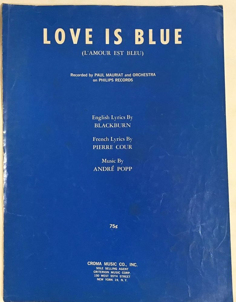 Love Is Blue Paul Mariat Sheetmusic Vintage 1968 with French and ...