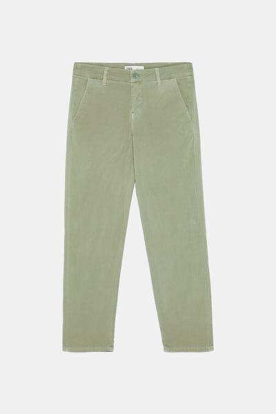 ea93c3ef19 ZARA - Female - Forest green zw premium floppy chinos - Light khaki ...