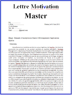 Exemple Lettre De Motivation Pour Master Maroc Modèle