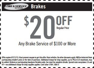 goodyear auto service brake coupons