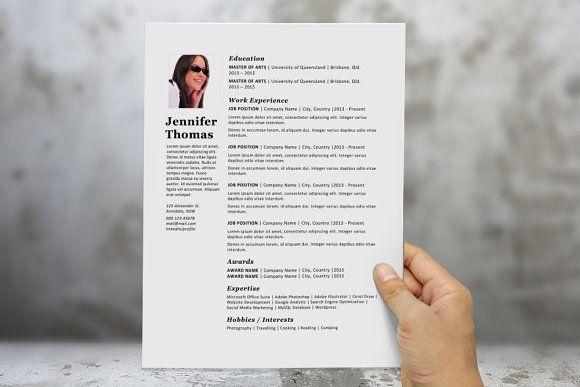 Simple photograph resume template Pinterest Template, Cv