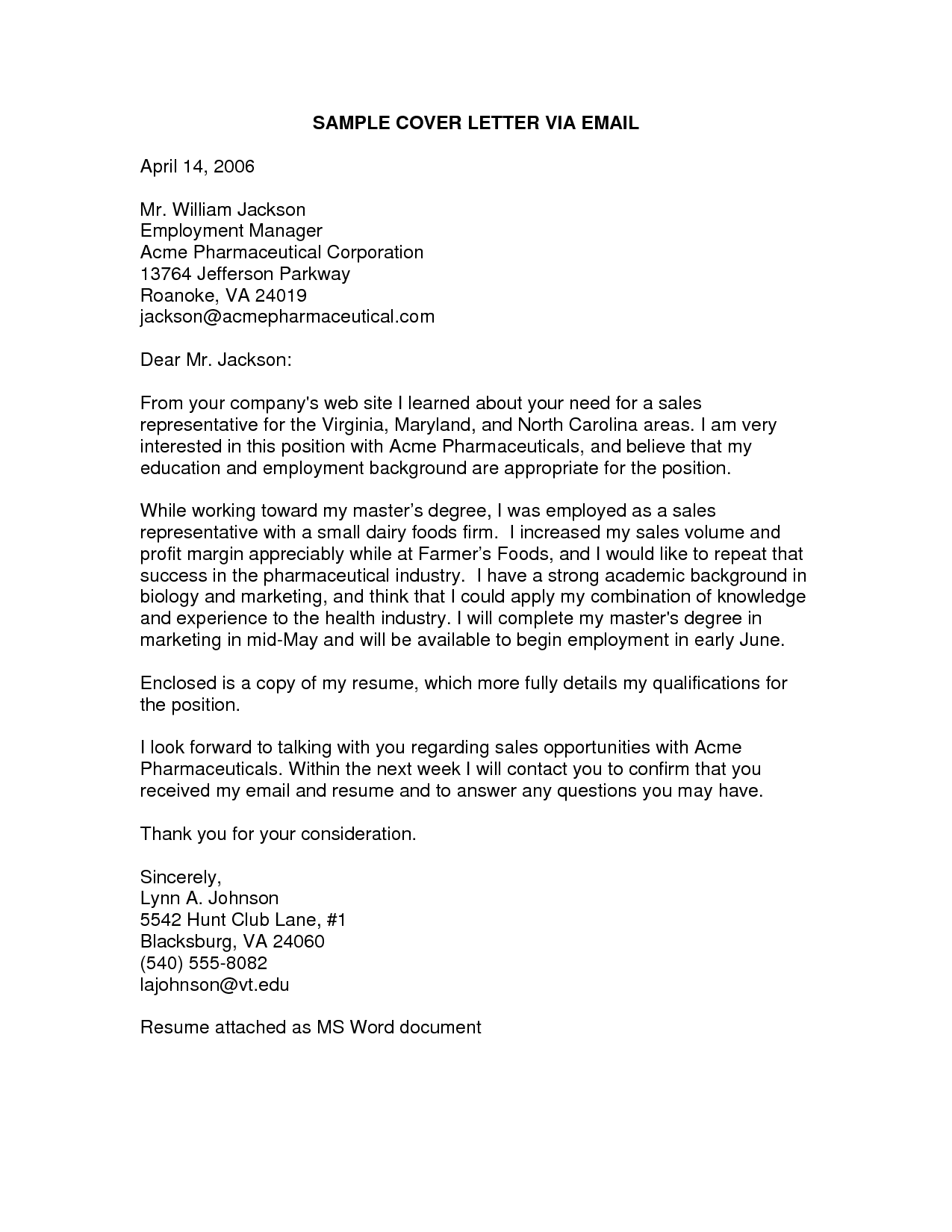 Cover Letter Example Email
