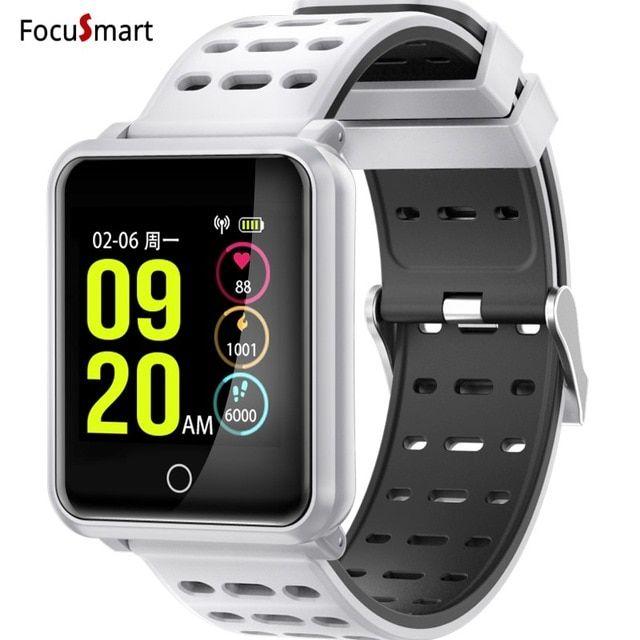 IP68 FocuSmart Novo Bluetooth 4.2 Relógio Inteligente À Prova D  Água Heart  Rate Monitor de Pressão Arterial Pulseira Smartwatch Para Iphone Xiaomi c2d510a0b2