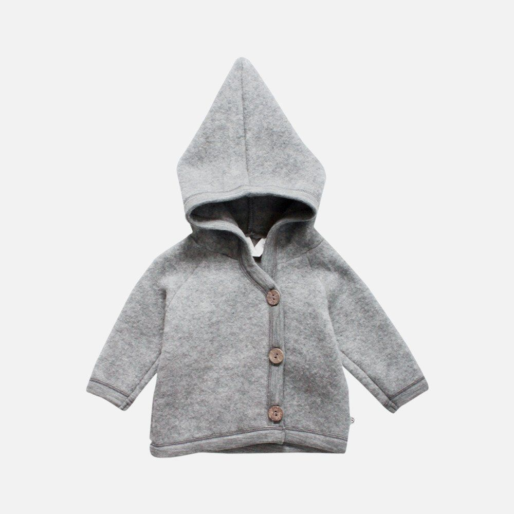 100 Organic Merino Wool Fleece Jacket Pale Grey 6m 3y Mamaowl Wool Kids Clothes Fleece Jacket Baby Outerwear