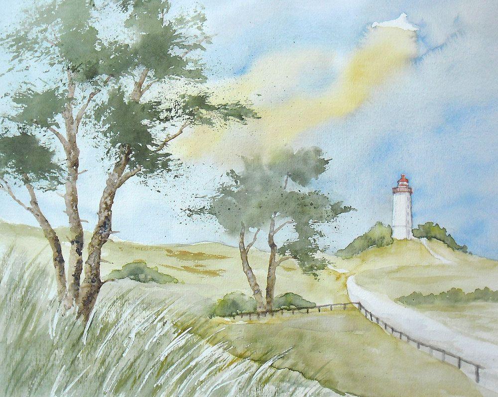 Leuchtturm Dornbusch Auf Hiddensee Aquarell Original 24 X 30