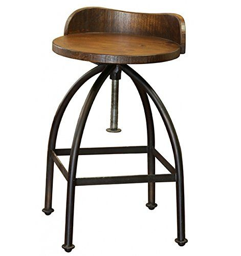 Distressed Industrial Iron And Solid Wood Bar Stool With Back And