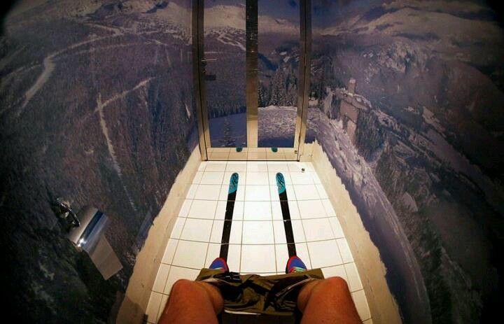 WC en una estación de esquí rusa