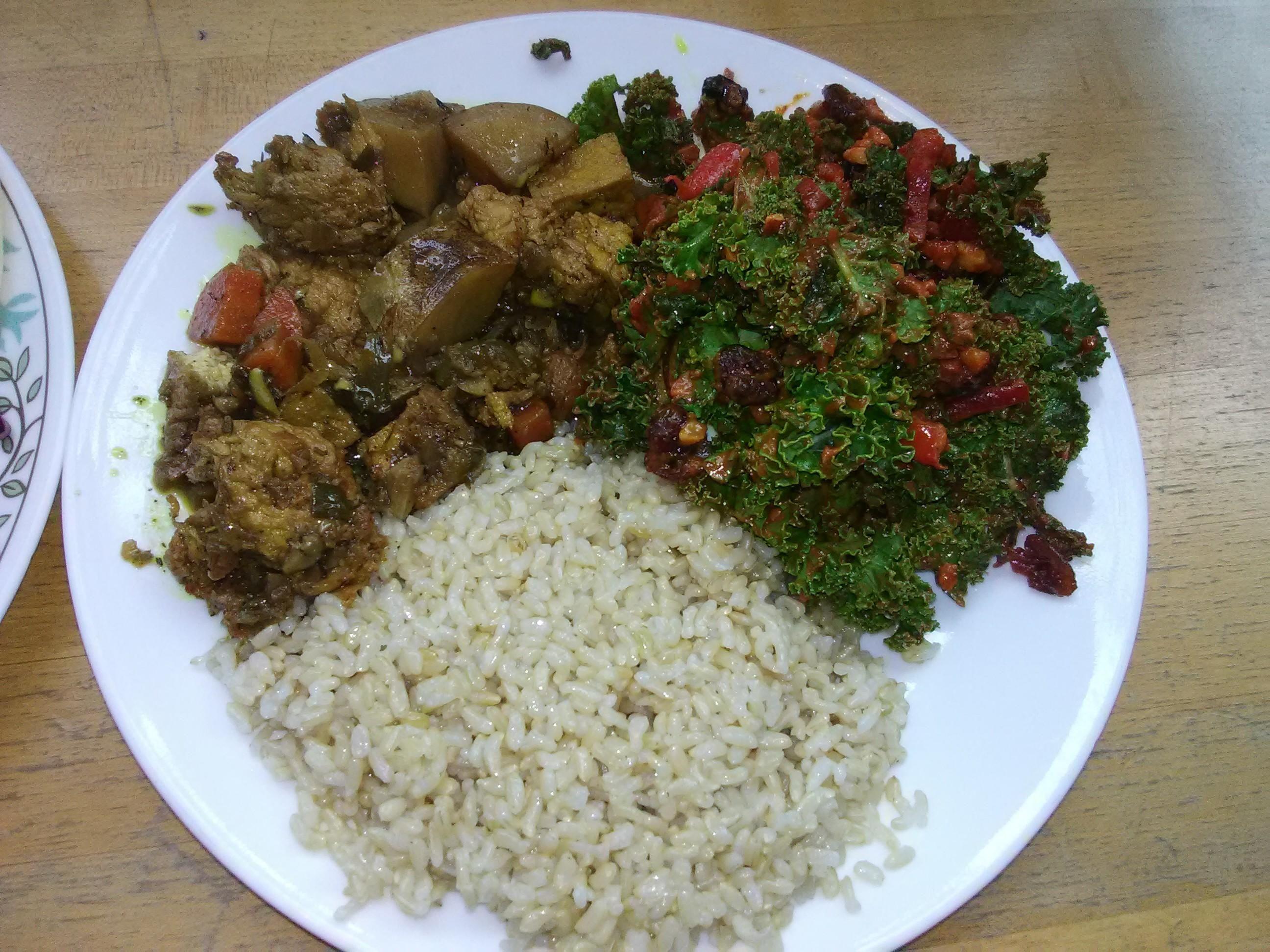 Jerk Tofu W Potatoes And Rice Plus Amazing Kale Salad W Ginger Turmeric Dressing Good Karma San Jose Ca