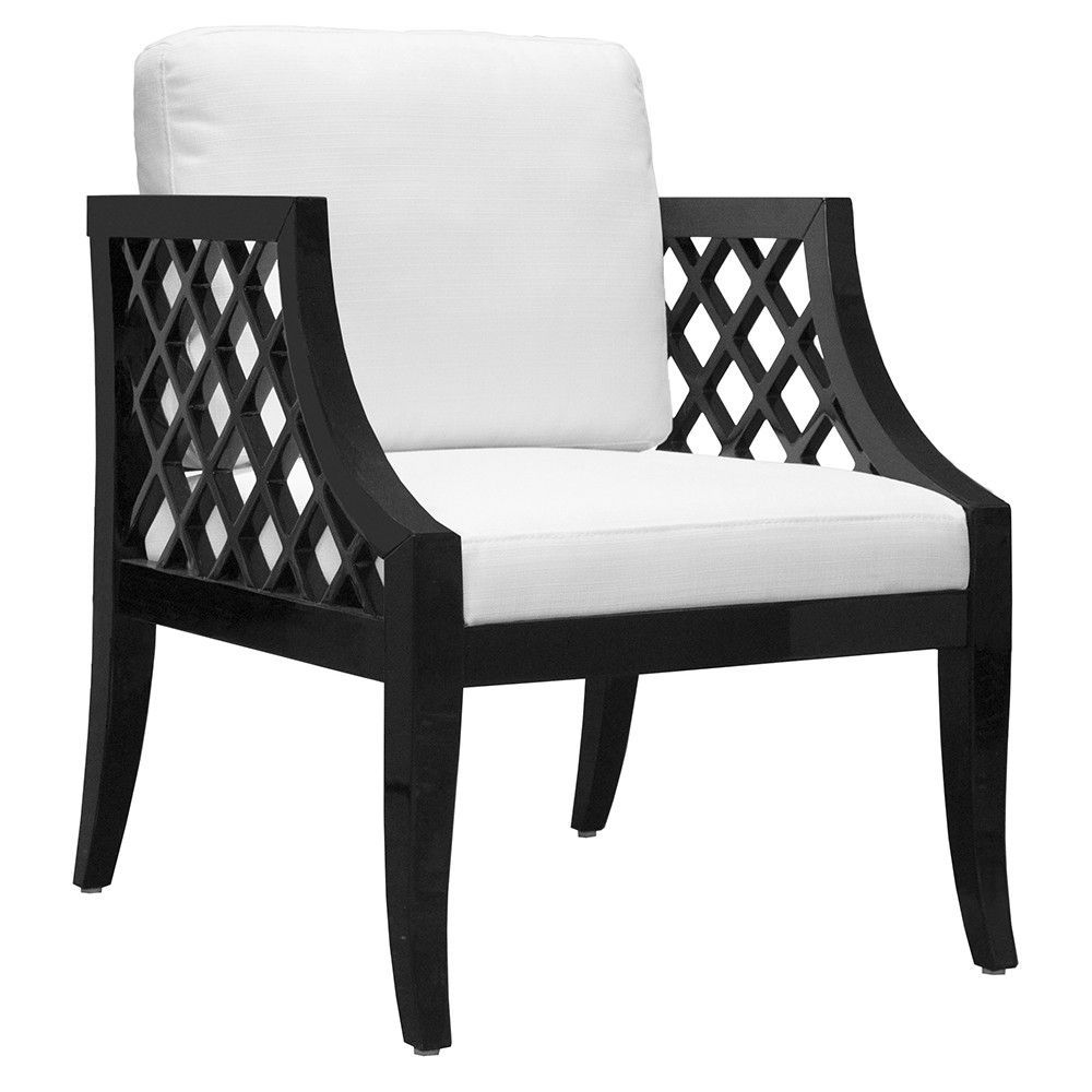 Worlds Away Lattice Sided Lacquer Armchair Black Amp White