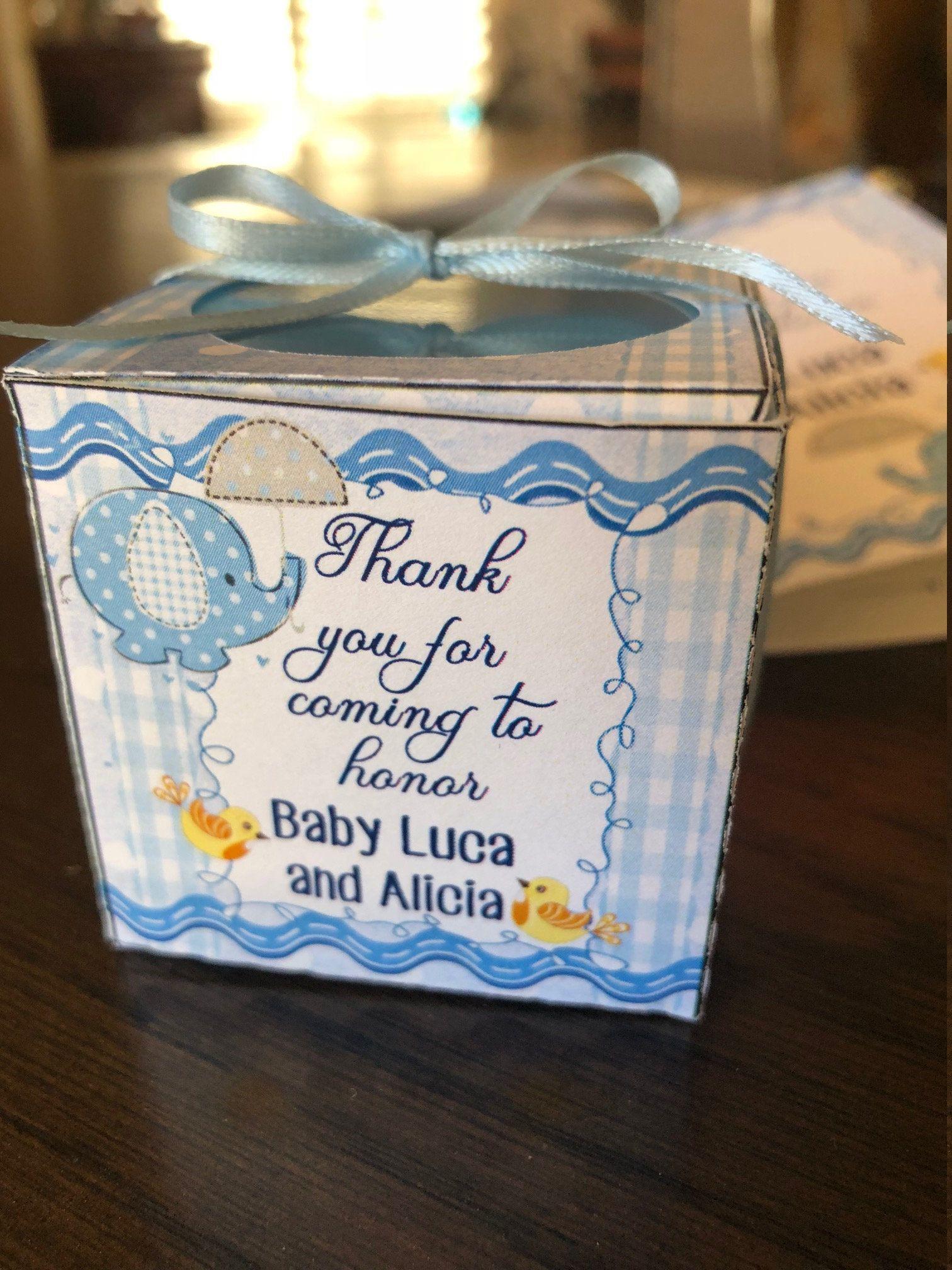 Baby shower boy favor box baby elephant shower favor box