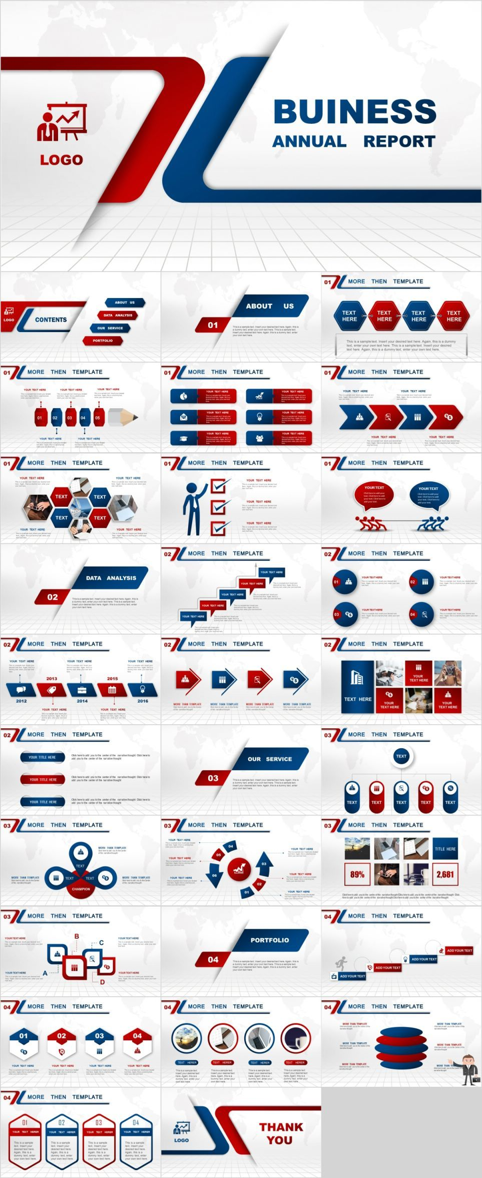 Red Blue Business Report Powerpoint Template Pcslide Com