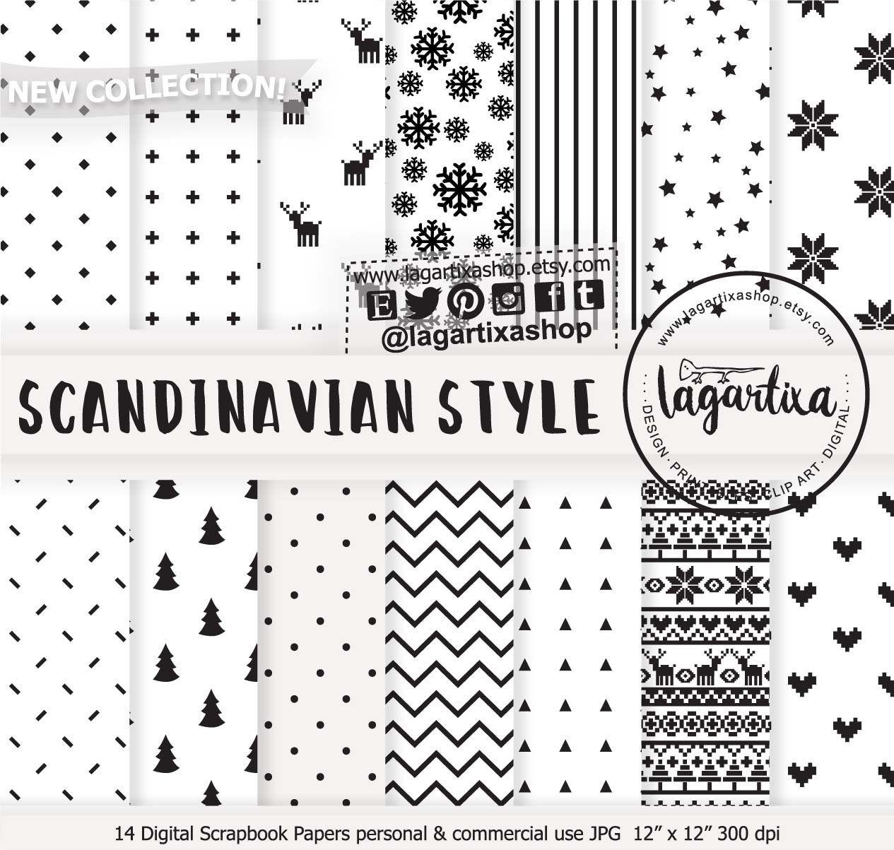 Black White Scandinavian Nordic Christmas Digital Paper Etsy In 2020 Digital Paper Nordic Christmas Modern Lettering