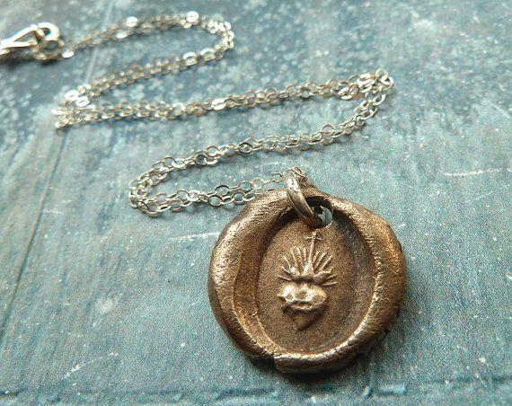 Sacr coeur wax seal sacred heart bronze pendant necklace sterling sacr coeur wax seal sacred heart bronze pendant necklace sterling silver chain 4800 jewelry aloadofball Images