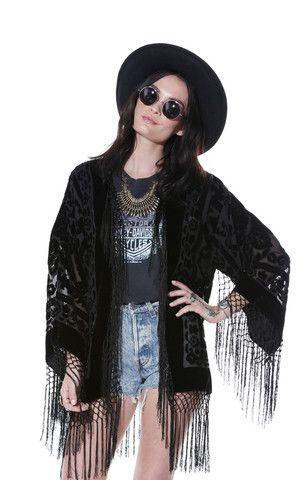 Gypsy Dreaming Floral Brocade Fringe Kimono - Black - Saltwater Gypsy #saltwatergypsy #kimonos