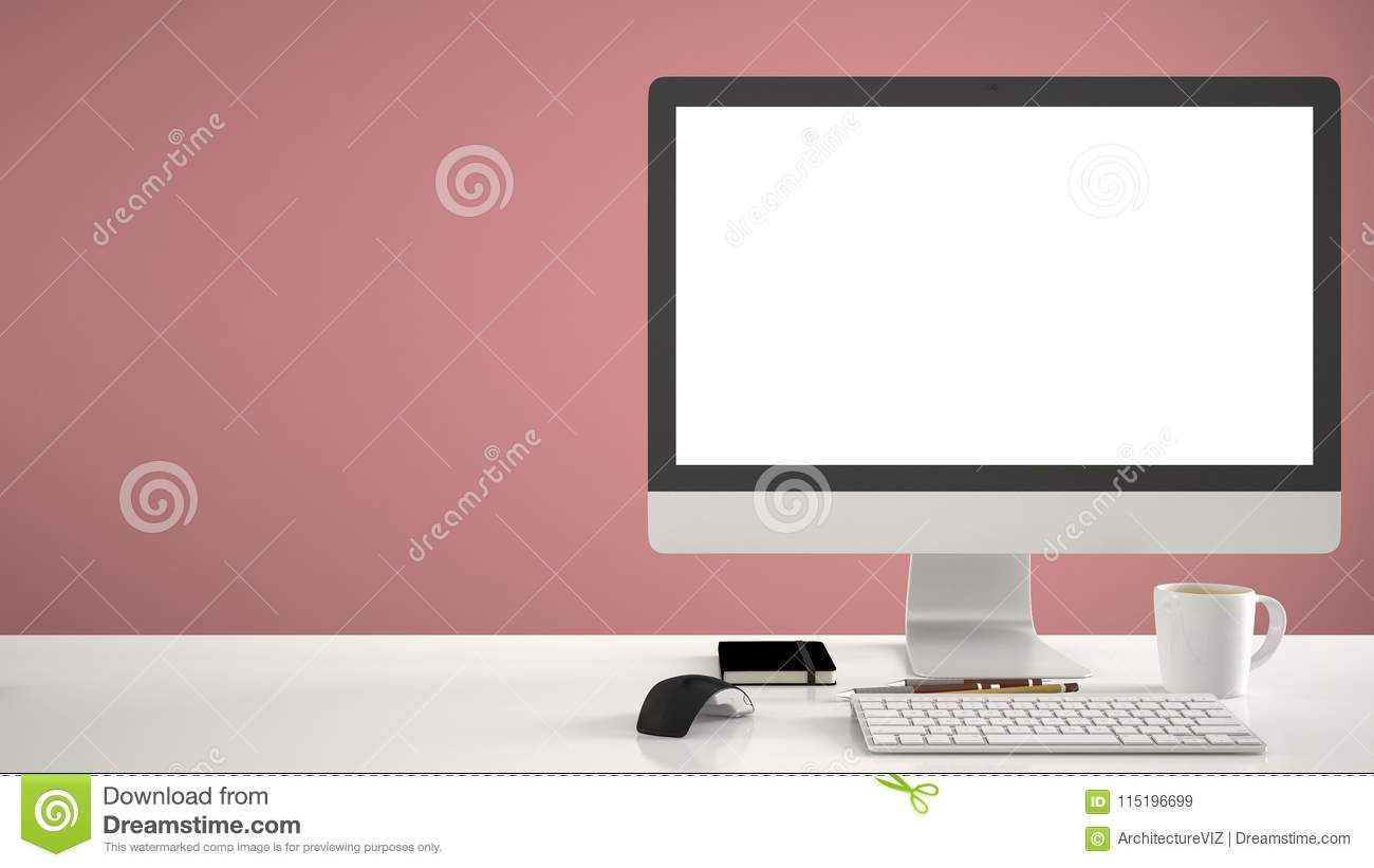 Desktop Mockup Template Computer On Work Desk With Blank Screen Keyboard Mouse And Notepad With Pens And Pencils Red Computer Work Desk Work Desk Computer