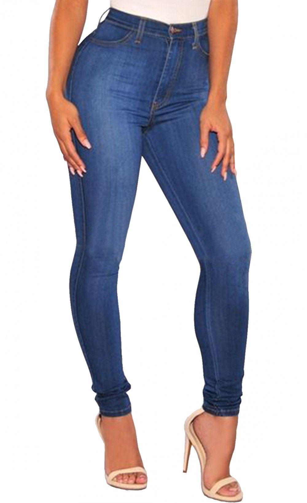 6db354dfba63  42.99 Blue Medium Wash Denim High-Waist Skinny Jeans
