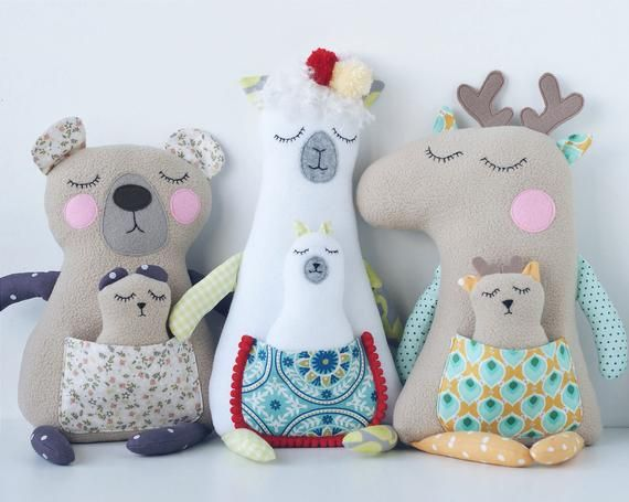 Plush animal toy sewing pattern PDF Stuffed animal tutorial Doll sewing Deer LLama Bear toy Easi pattern for beginners Soft toys sewing PDF #beartoy