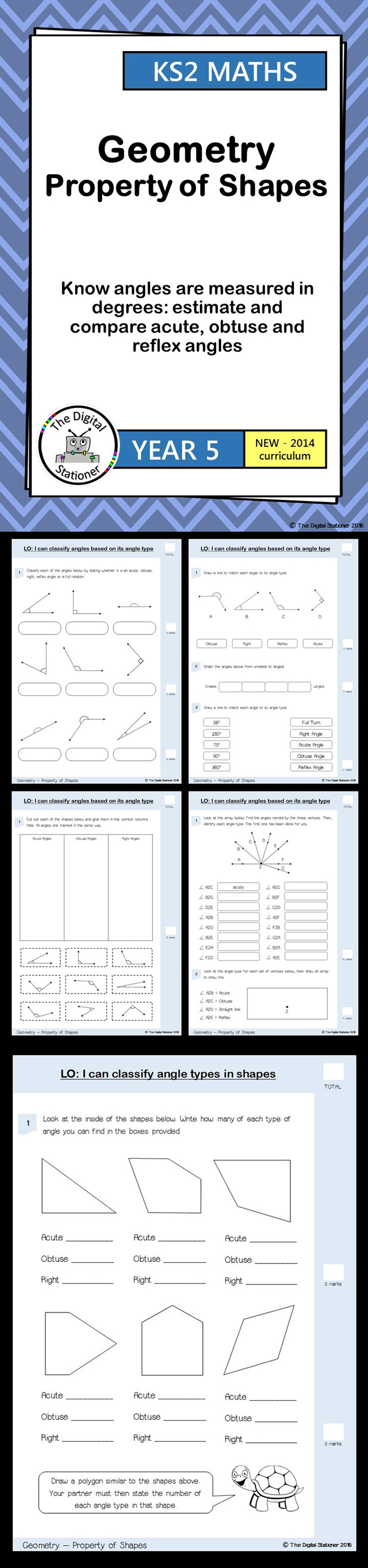 Year 5 Estimate, measure, compare acute, obtuse, reflex